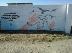 imagen del mural, 23 de septiembre trafico y explotación de mujeres